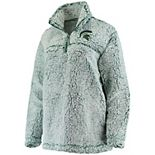 Women's Green Michigan State Spartans Sherpa Super Soft Quarter Zip Pullover Jacket