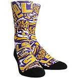 Youth Purple LSU Tigers Logo Sketch Crew Socks