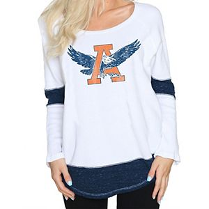 Women's Original Retro Brand White Auburn Tigers Contrast Boyfriend Thermal Long Sleeve T-Shirt