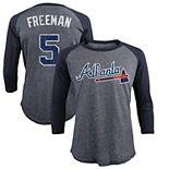Men's Majestic Threads Freddie Freeman Navy Atlanta Braves Tri-Blend 3/4-Sleeve Raglan Name & Number T-Shirt