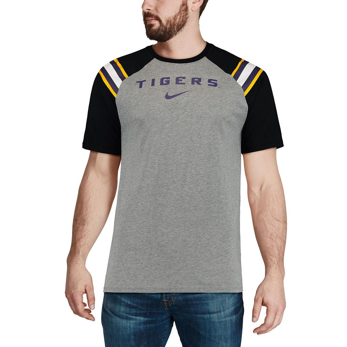 Men's Nike Charcoal LSU Tigers Enzyme Washed Shoulder Stripe T-Shirt jhzIs