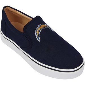 Women's Cuce Navy Los Angeles Chargers Suede Slip On Shoe