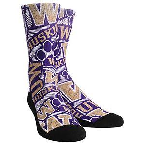 Women's Purple Washington Huskies Logo Sketch Crew Socks