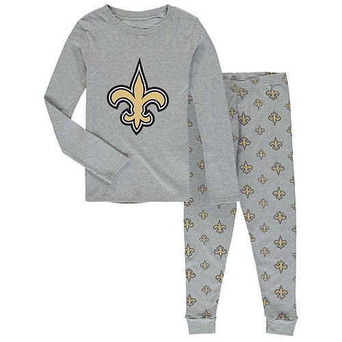 Preschool Heathered Gray New Orleans Saints Long Sleeve T-Shirt & Pants Sleep Set
