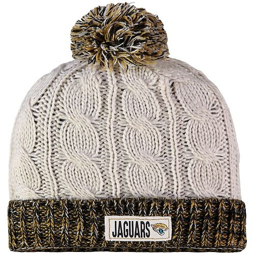 Women's New Era Cream Jacksonville Jaguars Rugged Tag Cuffed Knit Hat with Pom