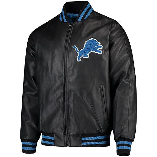 Men's G-III Sports by Carl Banks Black Detroit Lions Stiff Arm Pleather Varsity Jacket