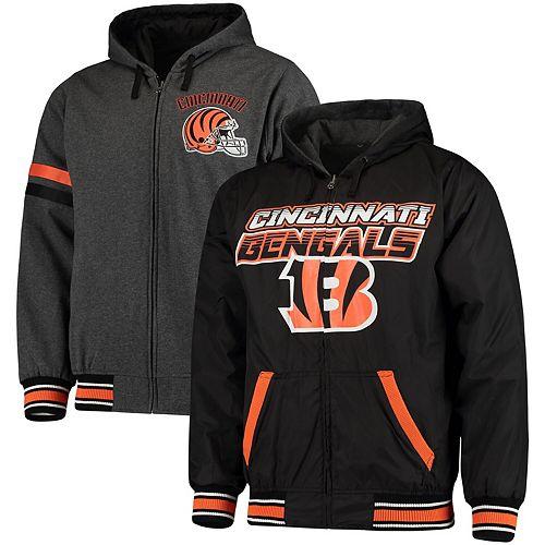 Men's G-III Extreme Black/Charcoal Cincinnati Bengals Hot Shot Reversible Full-Zip Hoodie