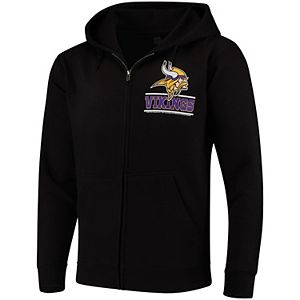 online store f1e09 0c72f Men's G-III Sports by Carl Banks Black Minnesota Vikings Primary Logo  Full-Zip Hoodie