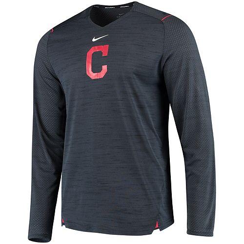 Men's Nike Navy Cleveland Indians AC Breathe Long Sleeve Performance T-Shirt