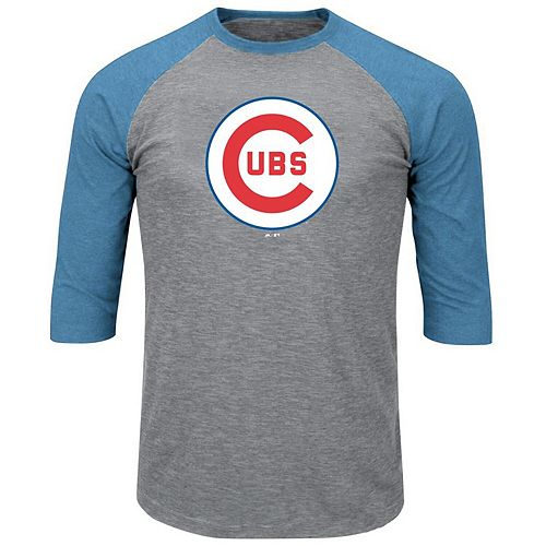 Men's Majestic Heathered Gray/Royal Chicago Cubs Big & Tall Vintage Logo Cooperstown Collection 3/4-Sleeve Raglan T-Shirt