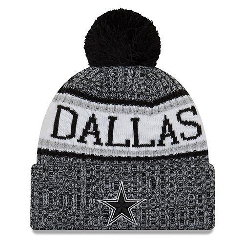 Youth New Era Black Dallas Cowboys 2018 NFL Sideline Cold Weather Reverse Sport Knit Hat