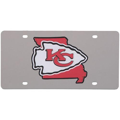 Kansas City Chiefs Acrylic State Shape Silver Mirror License Plate