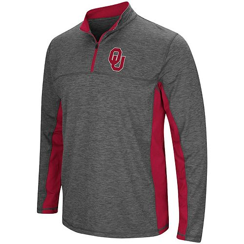 Men's Colosseum Heathered Charcoal Oklahoma Sooners Milton Windshirt Quarter-Zip Pullover Jacket