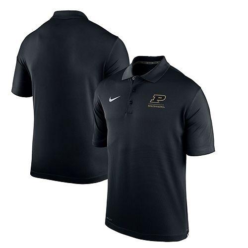 Men's Nike Black Purdue Boilermakers Logo and Mascot Name Varsity Performance Polo