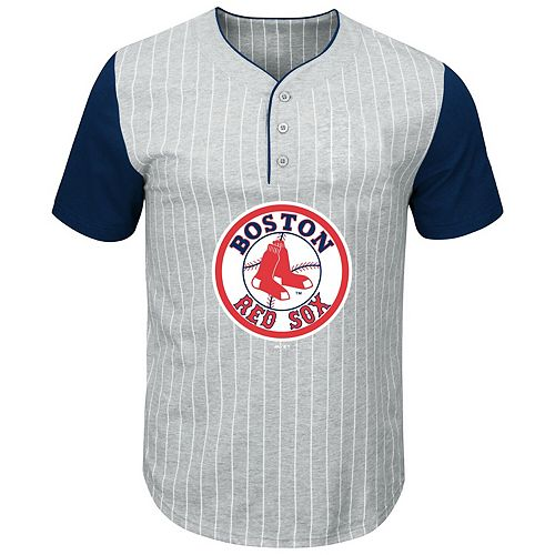 Men's Majestic Gray/Navy Boston Red Sox Big & Tall Cooperstown Collection Pinstripe Henley Raglan T-Shirt