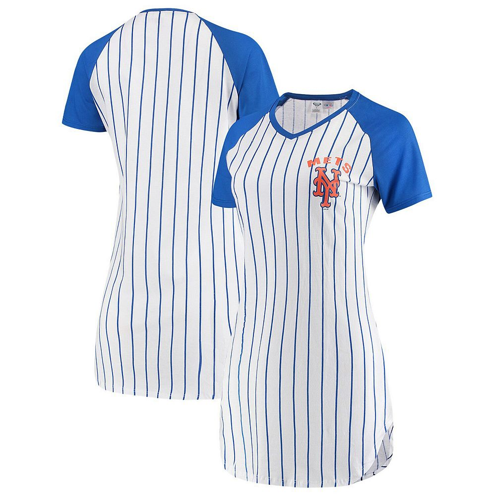 Women's Concepts Sport White New York Mets Vigor Pinstripe Nightshirt