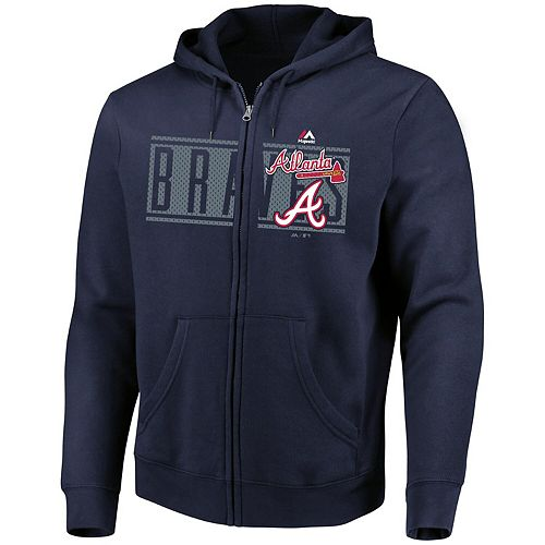Men's Majestic Navy Atlanta Braves Piercing Attack Full-Zip Hoodie