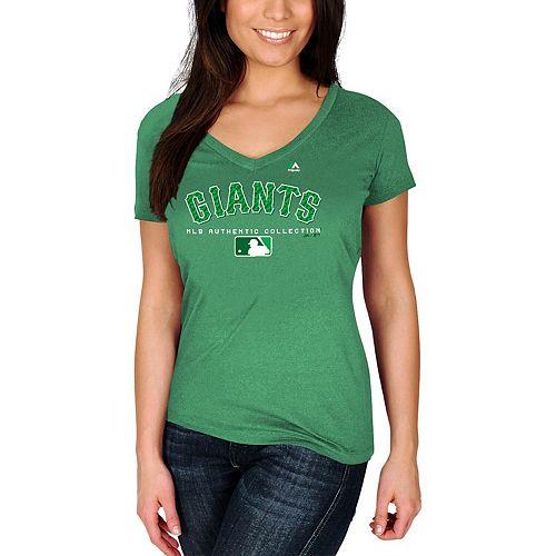 Women's Majestic Kelly Green San Francisco Giants 2018 St. Patrick's Day Authentic Celtic V-Neck T-Shirt