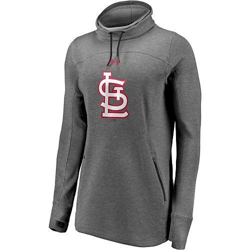 Women's St. Louis Cardinals Under Armour Heathered Charcoal Team Mark Performance Tri-Blend Pullover Sweatshirt