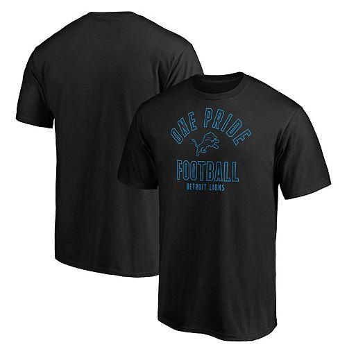 Men's Majestic Black Detroit Lions Iconic Hometown Arc Logo T-Shirt