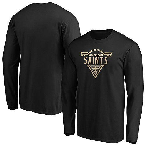 Men's Majestic Black New Orleans Saints Iconic Phalanx Long Sleeve T-Shirt