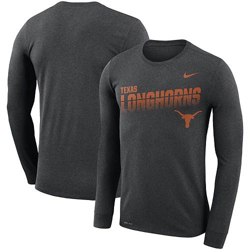 Men's Nike Heathered Charcoal Texas Longhorns Sideline Legend Long Sleeve Performance T-Shirt
