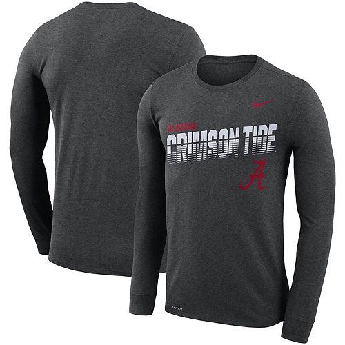Men's Nike Heathered Charcoal Alabama Crimson Tide Sideline Legend Long Sleeve Performance T-Shirt