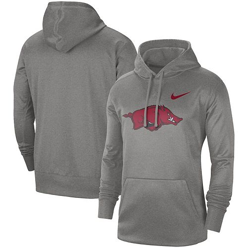 Men's Nike Heathered Gray Arkansas Razorbacks Circuit Logo Performance Pullover Hoodie