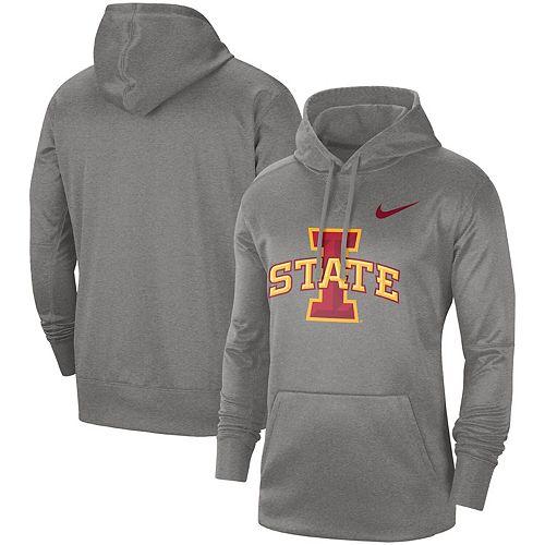Men's Nike Heathered Gray Iowa State Cyclones Circuit Logo Performance Pullover Hoodie