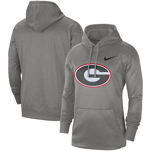 Men's Nike Heathered Gray Georgia Bulldogs Circuit Logo Performance Pullover Hoodie