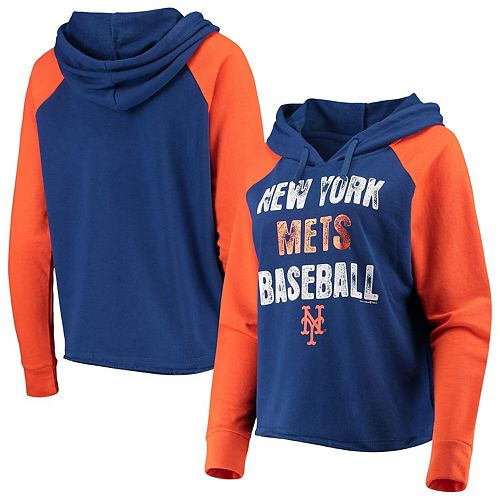 Women's New Era Royal/Orange New York Mets Loose French Terry Pullover Hoodie