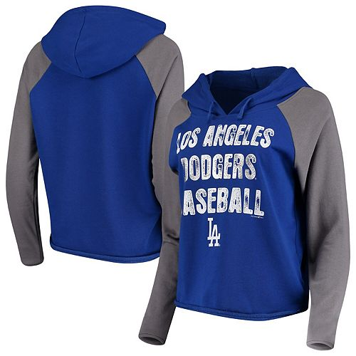 Women's New Era Royal/Gray Los Angeles Dodgers Loose French Terry Pullover Hoodie