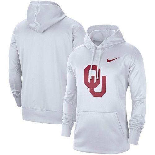 Men's Nike White Oklahoma Sooners Circuit Logo Performance Pullover Hoodie