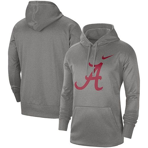 Men's Nike Heathered Gray Alabama Crimson Tide Circuit Logo Performance Pullover Hoodie
