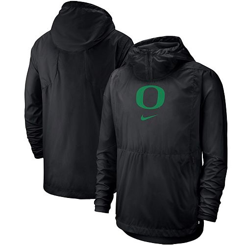 Men's Nike Black Oregon Ducks Player Repel Quarter-Zip Hooded Jacket