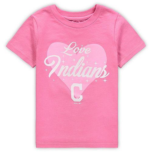 Girls Preschool Pink Cleveland Indians Heart Stars T-Shirt