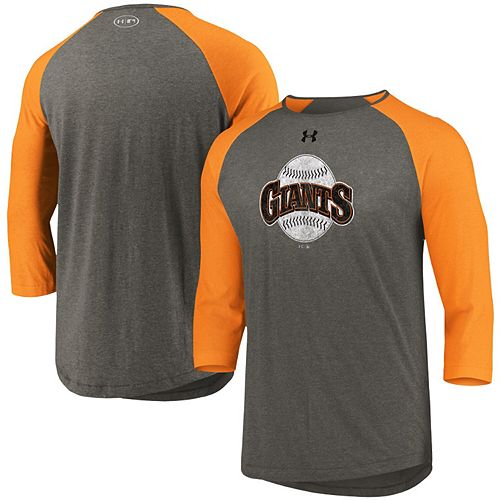 Men's Under Armour Gray/Orange San Francisco Giants Cooperstown Collection Tri-Blend 3/4-Sleeve Raglan Performance T-Shirt