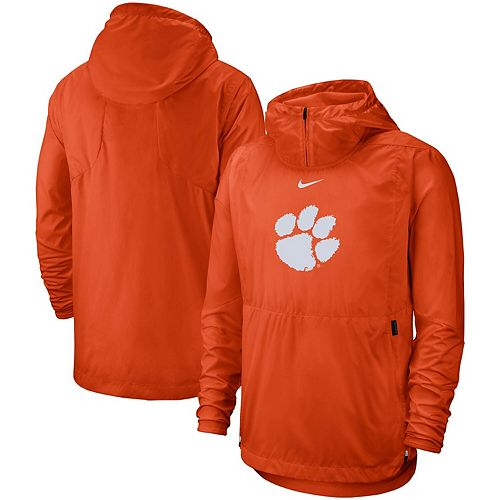 Men's Nike Orange Clemson Tigers Player Repel Quarter-Zip Hooded Jacket