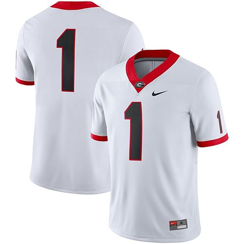 Men's Nike #1 White Georgia Bulldogs Game Jersey