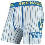 Men's Concepts Sport White Milwaukee Brewers Pinstripe Boxer Briefs