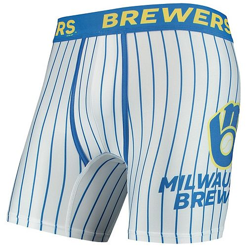 Men's Concepts Sport White Milwaukee Brewers Pinstripe Boxer Briefs