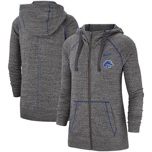 Women's Nike Heathered Gray Boise State Broncos Color Trim Gym Vintage Full-Zip Hoodie