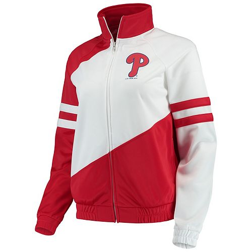 Women's G-III 4Her by Carl Banks Red/White Philadelphia Phillies Perfect Pitch Track Jacket