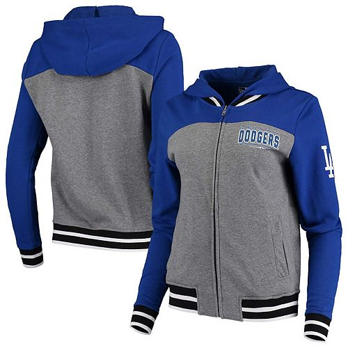 Women's New Era Heathered Gray/Royal Los Angeles Dodgers French Terry Full-Zip Hoodie