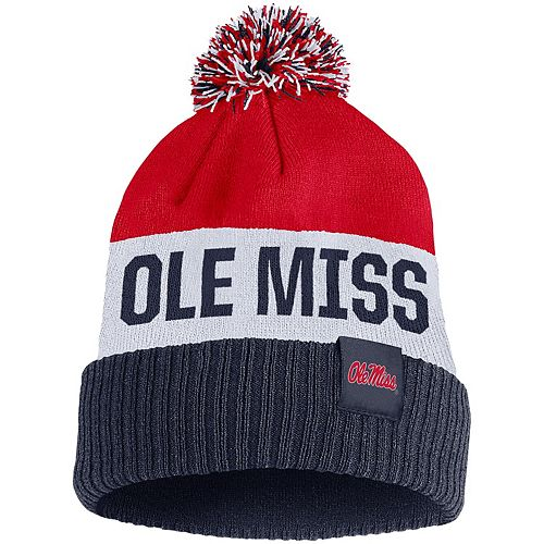 Men's Nike Red Ole Miss Rebels Team Name Cuffed Knit Hat with Pom