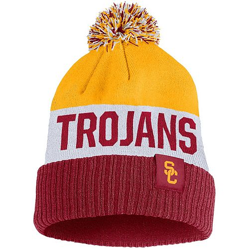 Men's Nike Gold USC Trojans Team Name Cuffed Knit Hat with Pom
