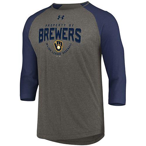 Men's Under Armour Gray/Navy Milwaukee Brewers Tri-Blend Performance Raglan 3/4-Sleeve T-Shirt