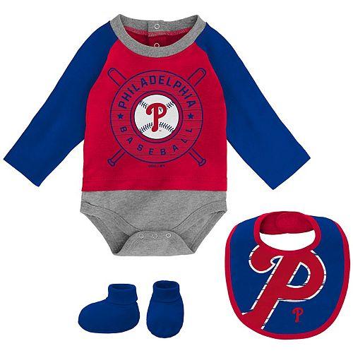 Newborn & Infant Red/Royal Philadelphia Phillies Dugout Dude Bodysuit, Bib & Booties Set