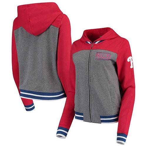 Women's New Era Gray/Red Philadelphia Phillies French Terry Full-Zip Hoodie
