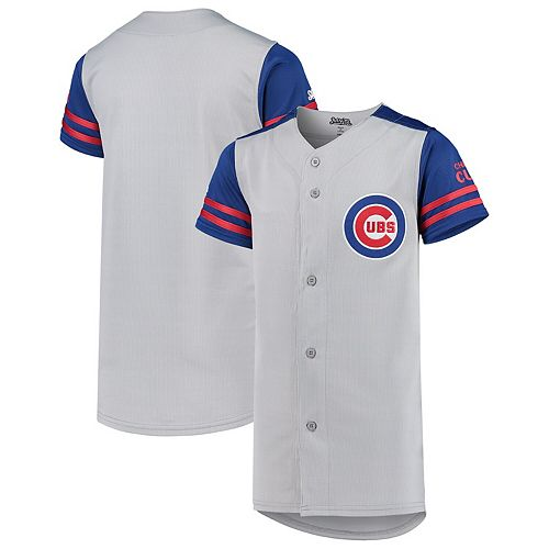 Youth Stitches Gray/Royal Chicago Cubs Team Jersey